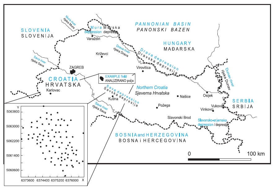 Local map and distribution of porosity samples