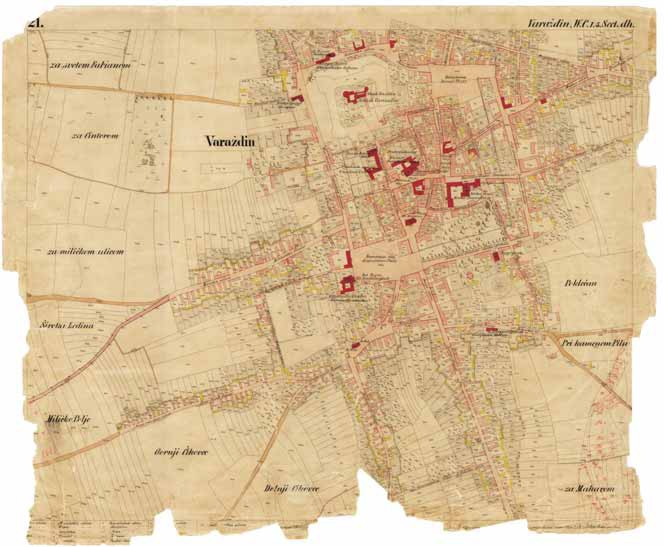 The original coloured cadastral map of Varaždin from 1860