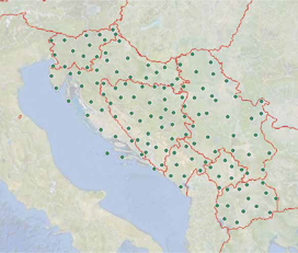 Layout of stations of GNSS permanent networks in analyzed countries