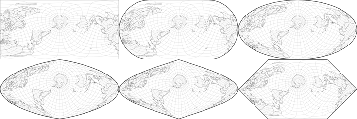 map projection transitions