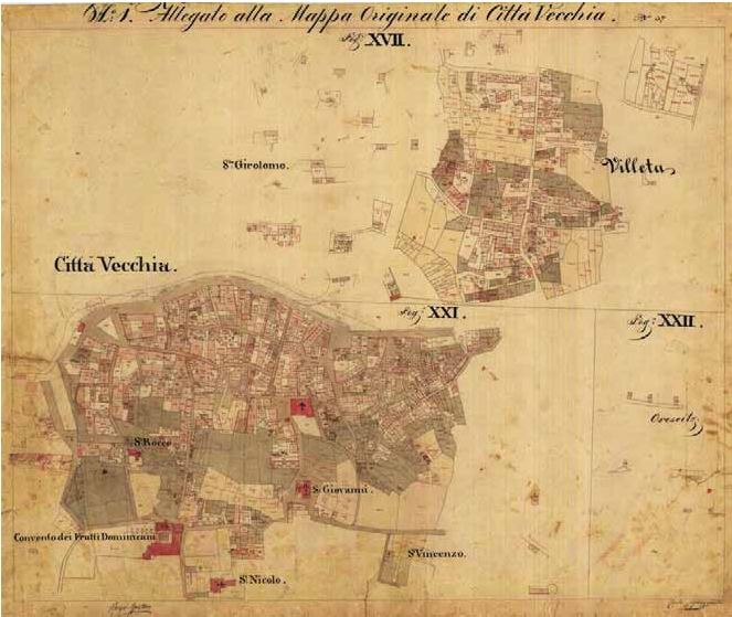 The cadastral map of the Stari grad, 1834