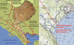 Map of the reconstructed Sutorina corridor (left); a detailed representation of the beginning of the former border on the coast, near Igalo (right)