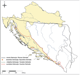 Changes of territorial range of Dalmatia throughout history
